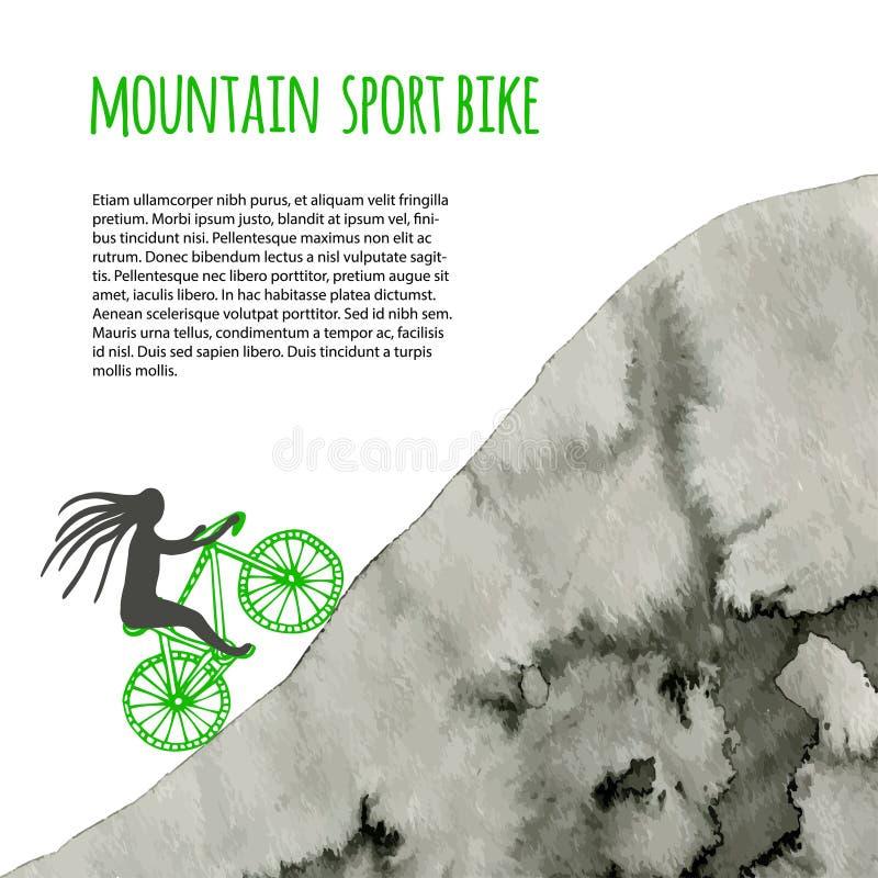 Bicicleta do esporte Cartaz do vetor com montanha da aquarela ilustração do vetor
