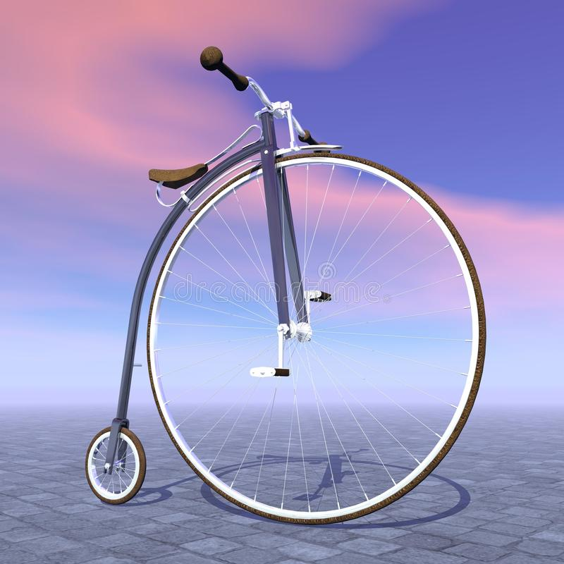 Bicicleta do farthing da moeda de um centavo - 3D rendem ilustração do vetor