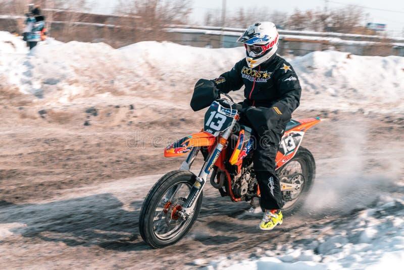 A bicicleta do motocross da roda traseira foto de stock