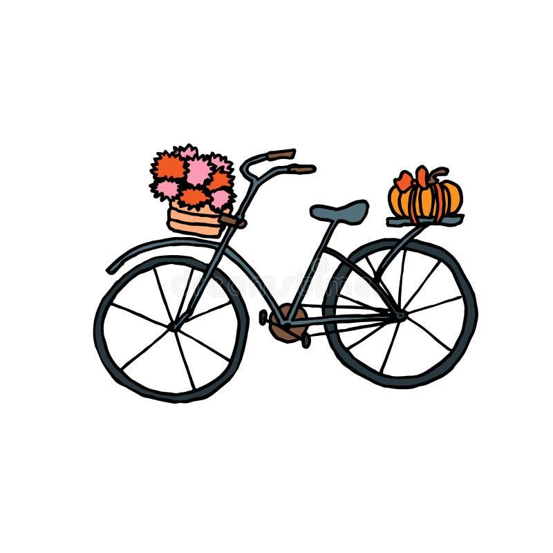 Bicicleta do outono Esboço com cores diferentes no fundo branco Ilustra??o do vetor ilustração stock