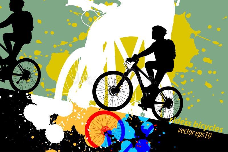 Bicicleta do passeio da mulher das cores do sumário ilustração stock