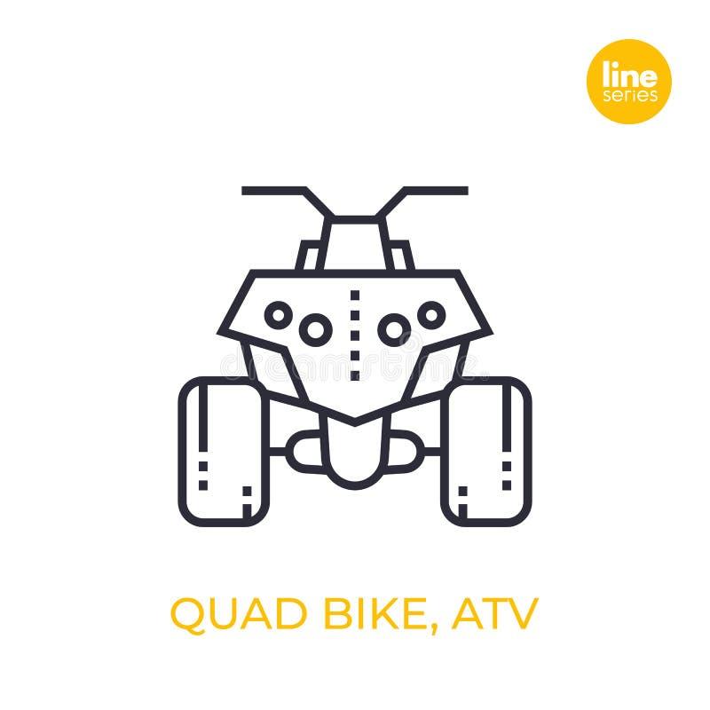 Bicicleta do quadrilátero, todo o ícone linear do veículo ATV do terreno ilustração stock