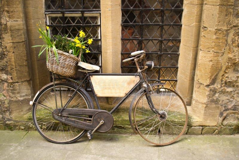 Bicicleta do vintage com grupos de flores imagem de stock