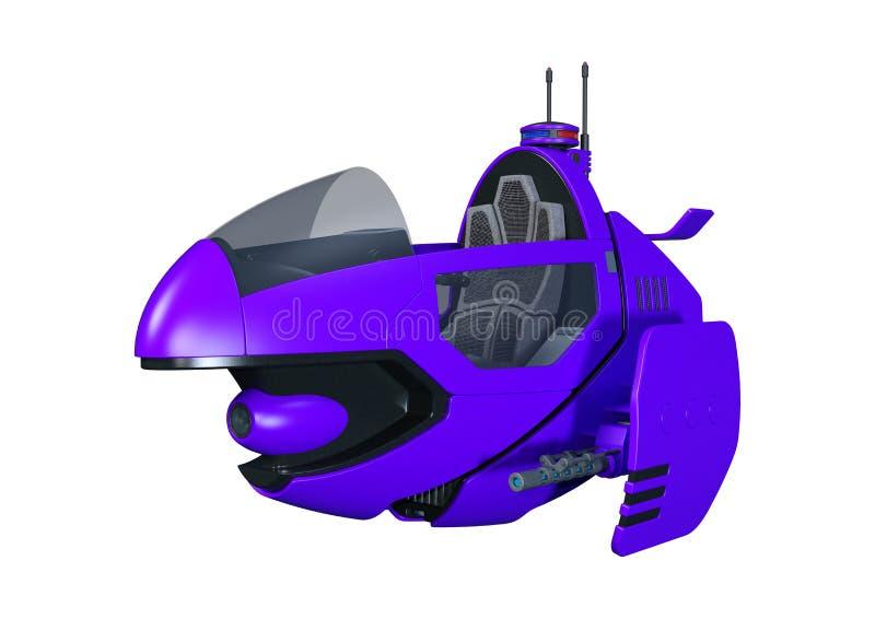 bicicleta do voo da ficção científica da rendição 3D no branco ilustração stock