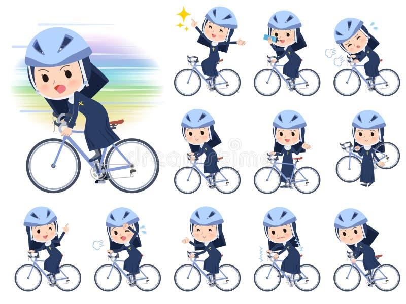 Bicicleta do women_road da freira ilustração stock