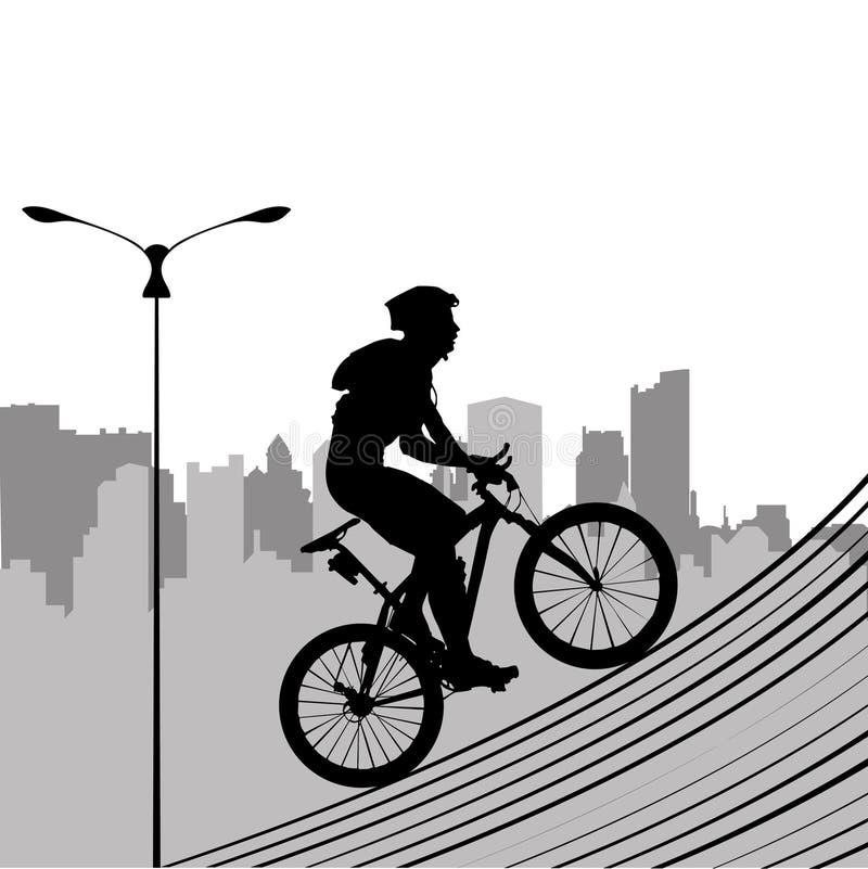 Bicicleta e cidade ilustração royalty free