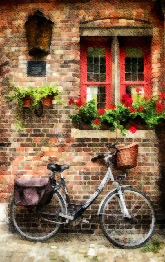 Bicicleta e janela vermelha na ciclagem à moda retro do vintage da parede de tijolo na bicicleta velha da cidade que comuta no am fotografia de stock