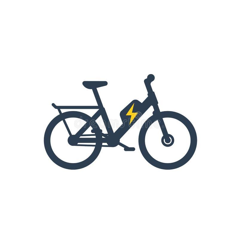 Bicicleta elétrica, eletro ícone da bicicleta ilustração do vetor