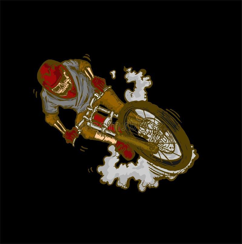 Bicicleta em declive da arte do crânio do dirtjump do esporte de FreeRide selvagem ilustração do vetor
