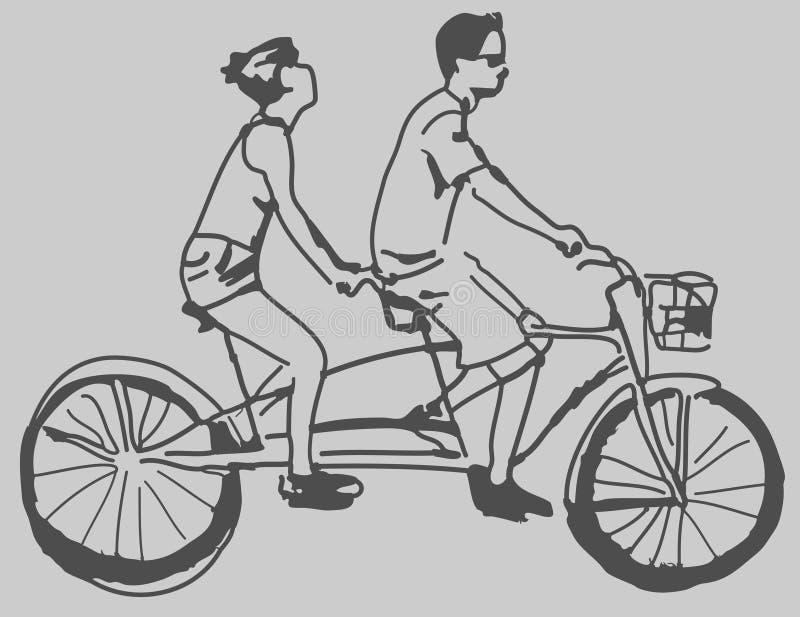 Bicicleta em tandem ilustração stock