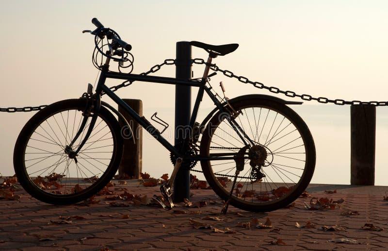 Bicicleta en el embarcadero en el lago Balaton fotografía de archivo