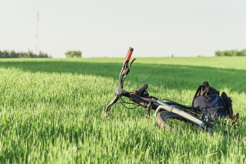Bicicleta en la hierba con las mochilas fotos de archivo