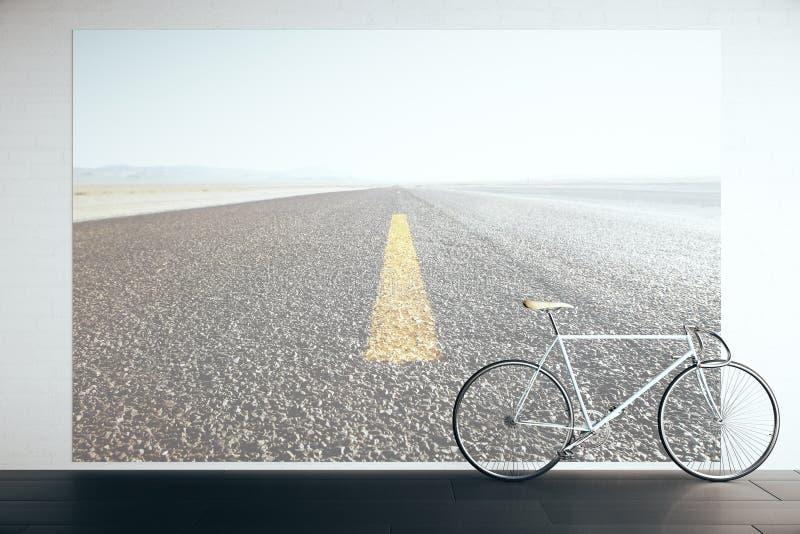 Bicicleta en sitio con la imagen del camino libre illustration