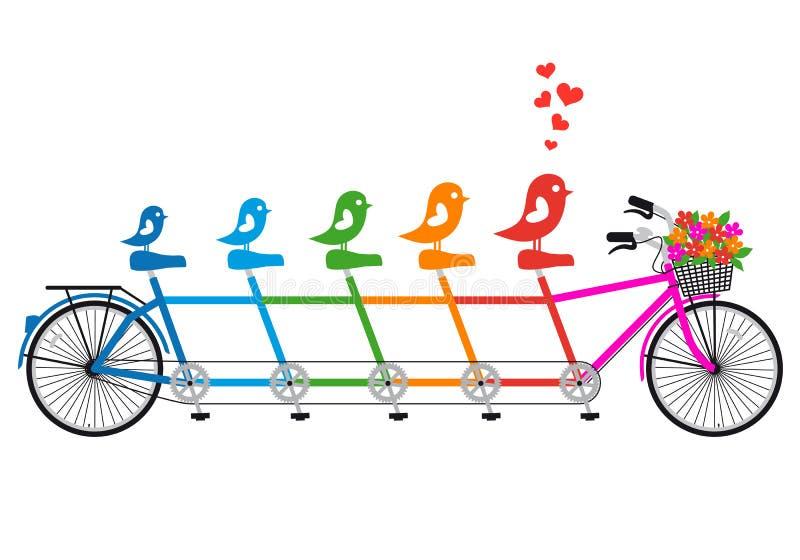 Bicicleta en tándem con la familia de pájaro, vector ilustración del vector