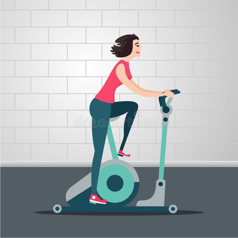 Bicicleta estacionária A jovem mulher está dando um ciclo em uma bicicleta de exercício Ilustração lisa dos desenhos animados int ilustração do vetor