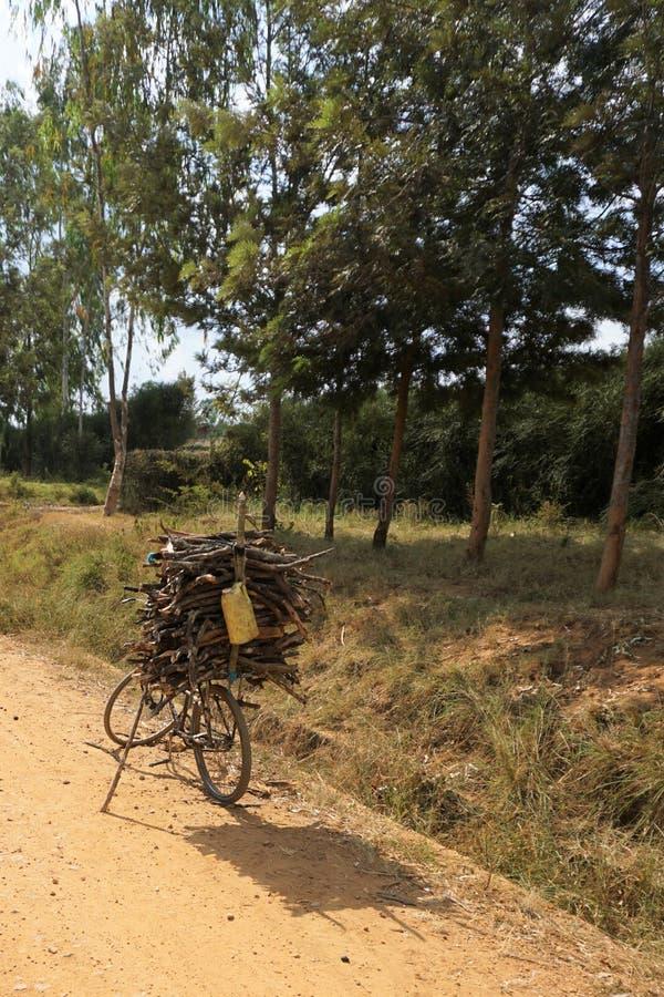 Bicicleta estacionada carregado com galhos e ramos no lado da estrada fotografia de stock