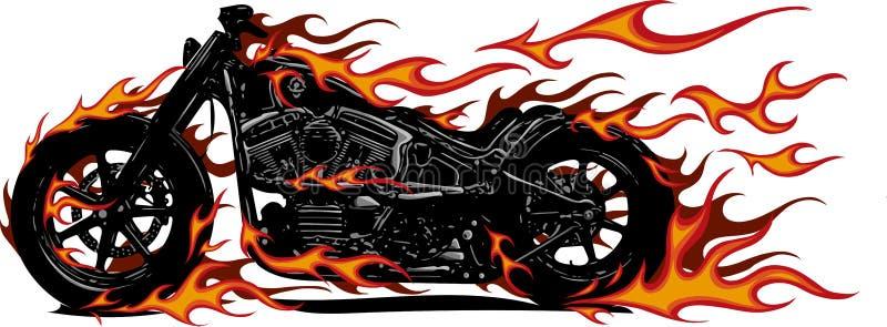 Bicicleta flamejante Chopper Ride Front View da ilustração do vetor ilustração stock
