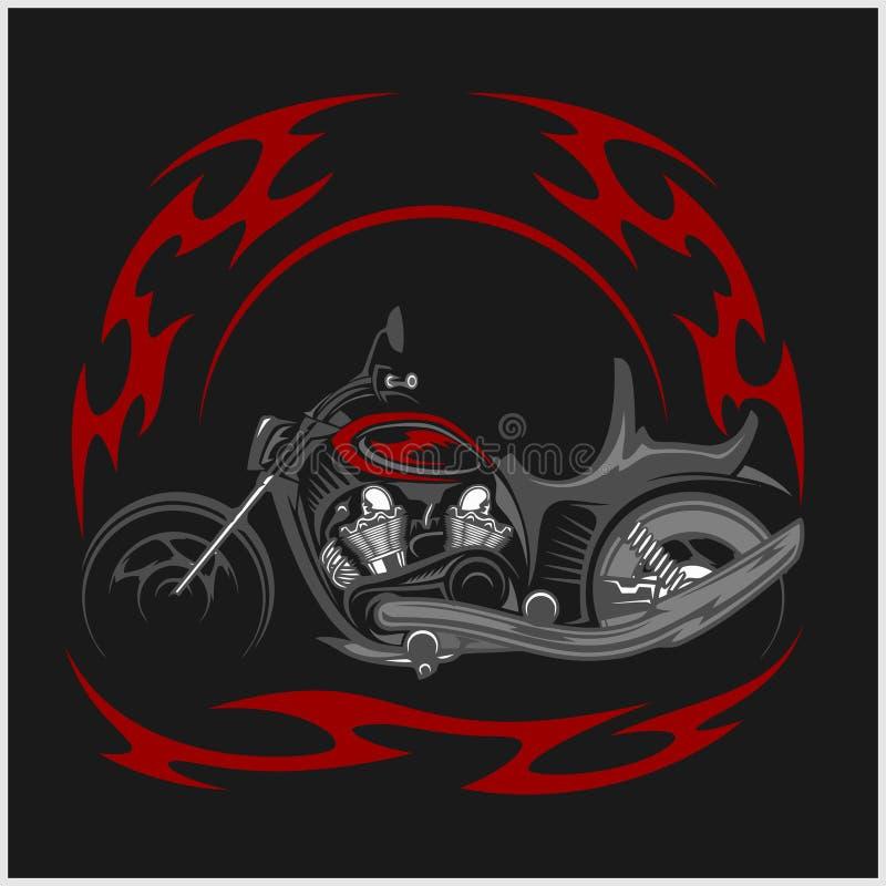 Bicicleta flamejante - interruptor inversor retro e chama tribal ilustração do vetor