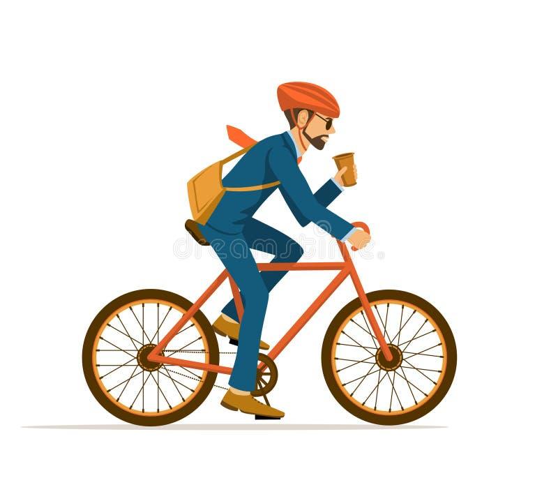 Bicicleta fresca del montar a caballo del hombre de negocios a la oficina ilustración del vector