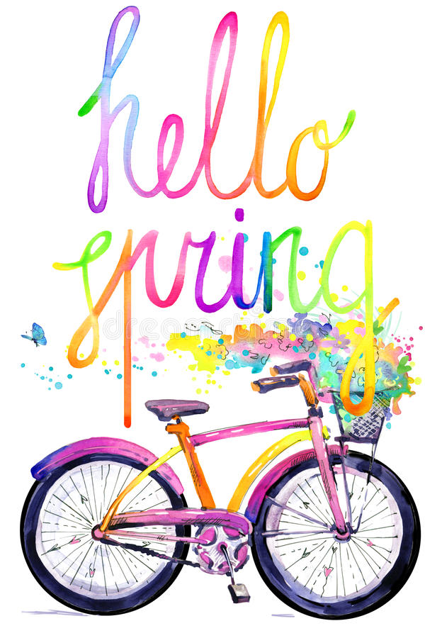 Bicicleta Fundo da bicicleta e da flor da aquarela Olá! texto da aquarela da mola ilustração royalty free