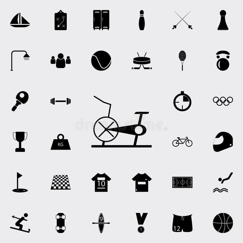 Bicicleta inmóvil, icono de la bicicleta estática Diviértase el sistema universal de los iconos para el web y el móvil ilustración del vector