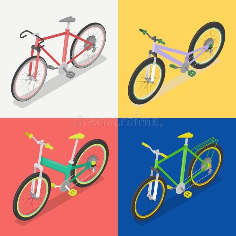 Bicicleta isométrica fijada con extremo y la bici del camino Transporte de la ciudad ilustración del vector