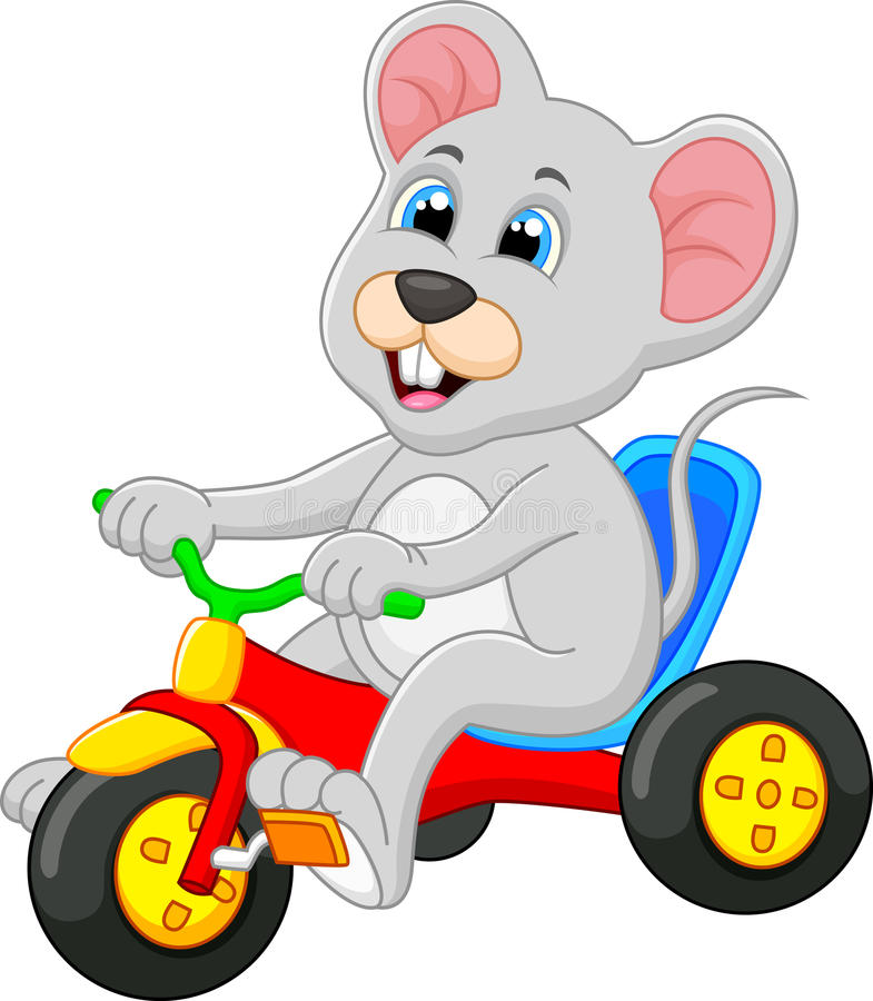 Bicicleta linda del montar a caballo del ratón ilustración del vector