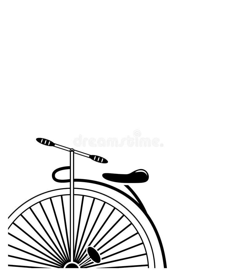 Bicicleta mínima do farthing da moeda de um centavo do estilo do vintage do estilo de canto parcial no formulário parcial em 3 pr ilustração stock
