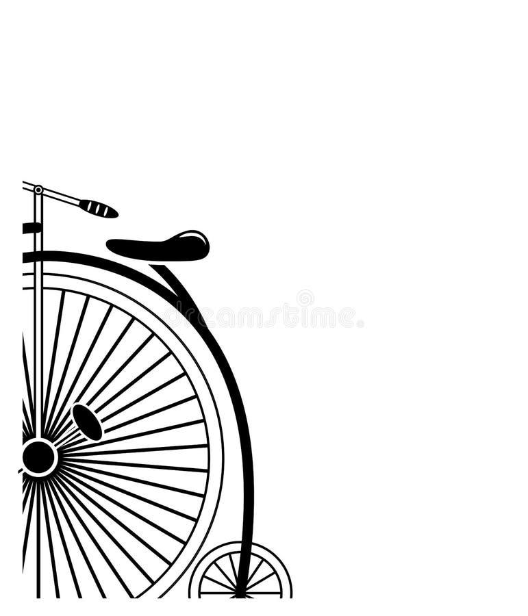 Bicicleta mínima do farthing da moeda de um centavo do estilo do vintage do estilo de canto parcial no formulário parcial em pret ilustração stock