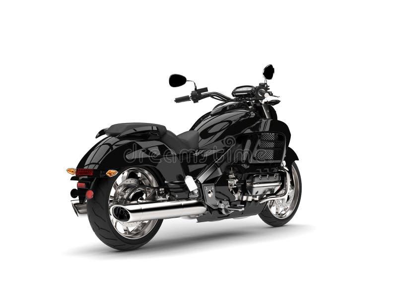 Bicicleta moderna poderosa preta do interruptor inversor - opinião de roda traseira ilustração do vetor