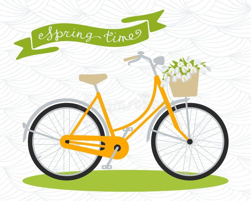 Bicicleta O tempo de mola… aumentou as folhas, fundo natural ilustração do vetor