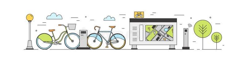 Bicicleta pública que compartilha da área com as bicicletas disponíveis para o aluguel estacionado em estações de ancoragem na ru ilustração stock