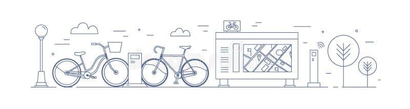 Bicicleta pública que compartilha da zona com as bicicletas disponíveis para o aluguel estacionado em estações de ancoragem na ru ilustração stock