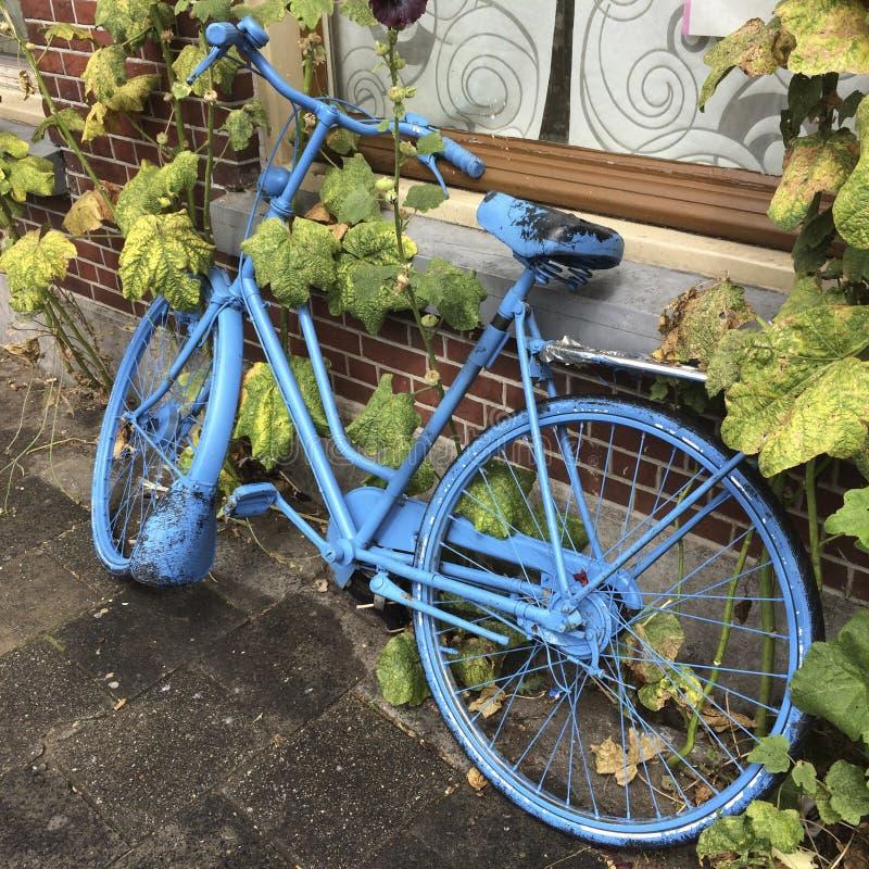Bicicleta pintada azul imagem de stock