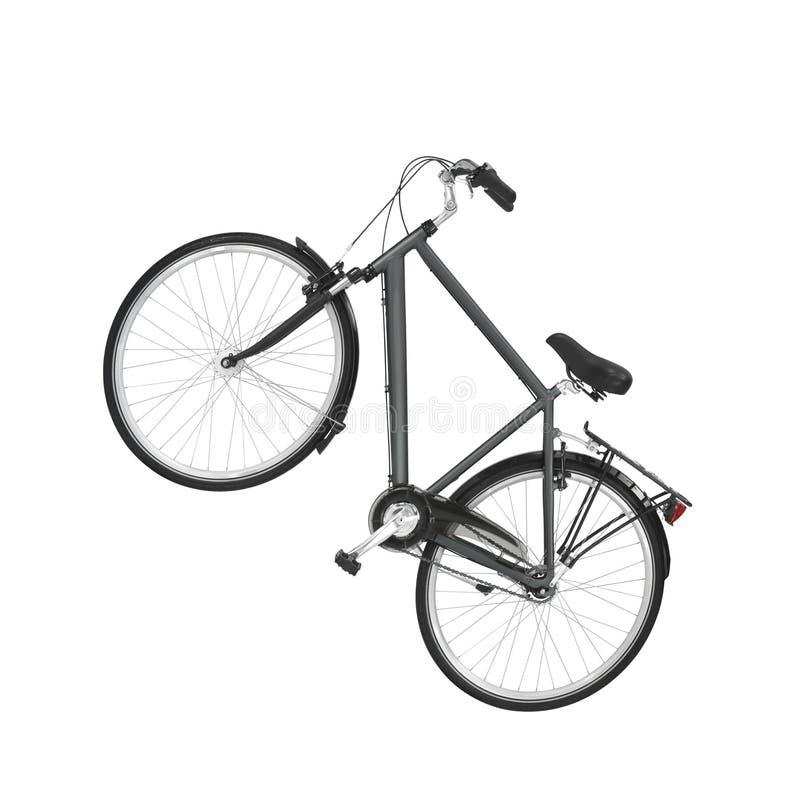Bicicleta preta da estrada do vintage isolada no branco fotografia de stock