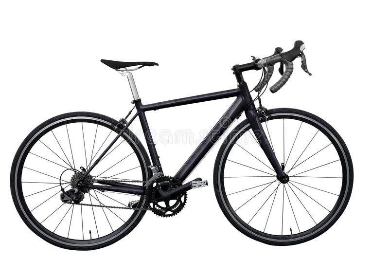 bicicleta preta da estrada isolada no fundo branco isolado imagens de stock