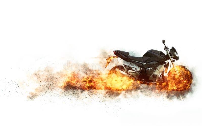 Bicicleta preta dos esportes - rodas no fogo ilustração stock