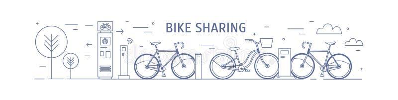 Bicicleta que compartilha do ponto com as bicicletas alugados estacionadas nas estações de ancoragem e nos terminais do pagamento ilustração do vetor