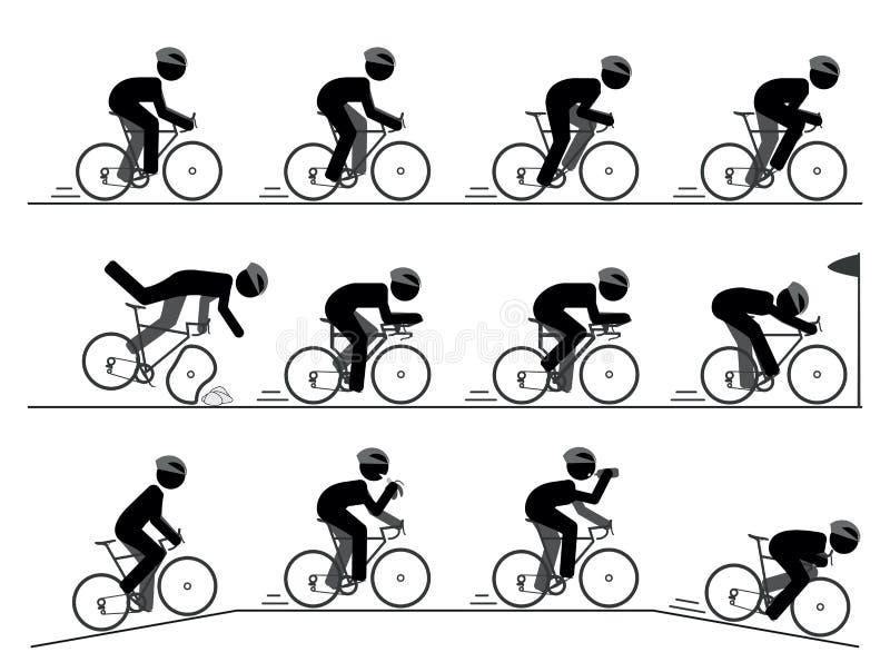 Bicicleta que compete o pictograma ilustração stock