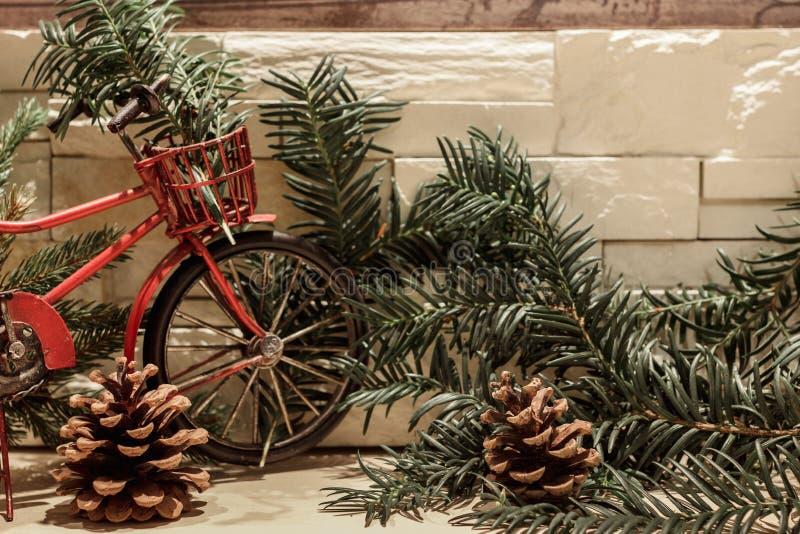Bicicleta, ramas del pino y conos rojos fotografía de archivo libre de regalías