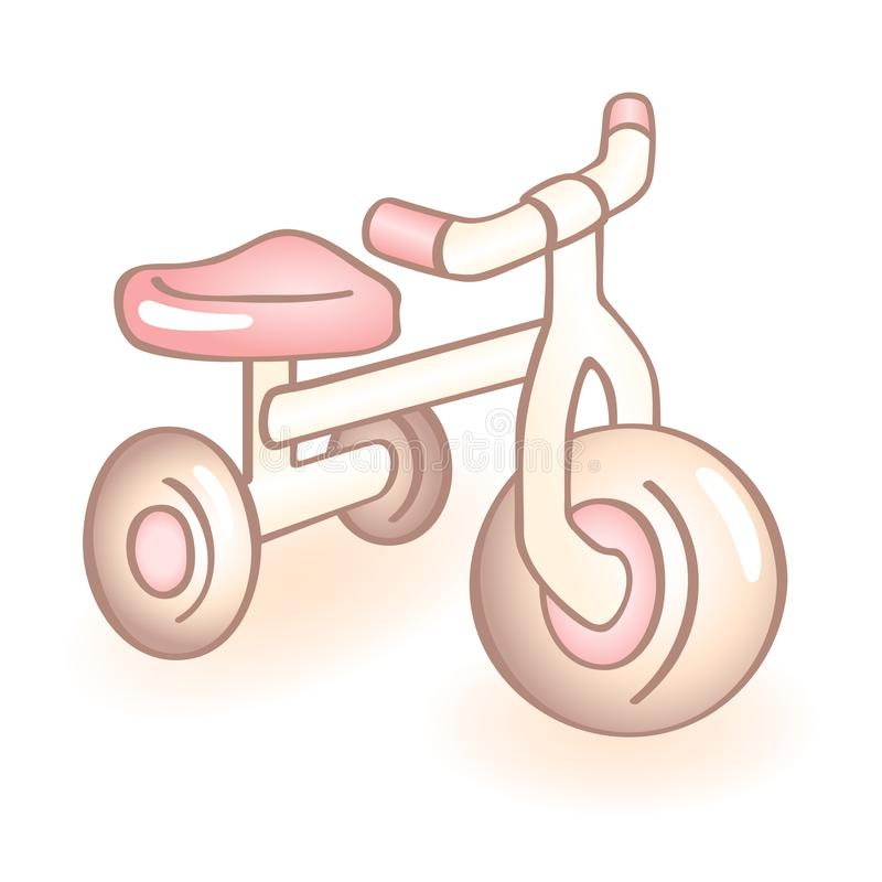Bicicleta recém-nascida com três rodas, triciclo do bebê com detalhes cor-de-rosa Ícone infantil do vetor Artigo da criança ilustração do vetor
