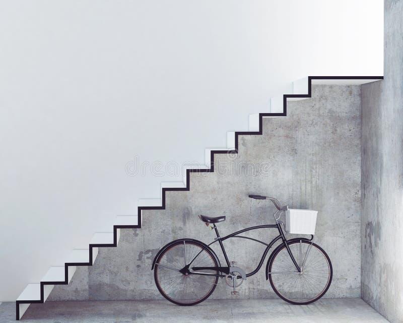 Bicicleta retra con la cesta delante del muro de cemento interior, fotografía de archivo
