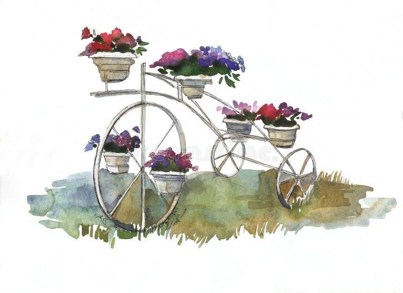 Bicicleta retra de tres ruedas con las macetas en diseño del paisaje stock de ilustración