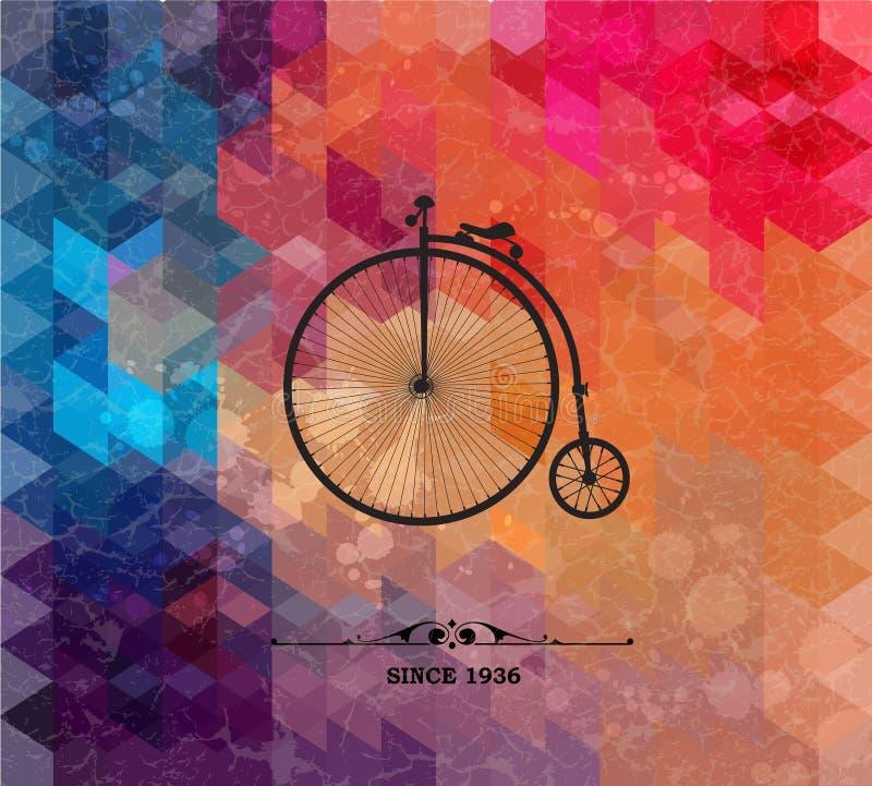Bicicleta retra en fondo geométrico colorido ilustración del vector
