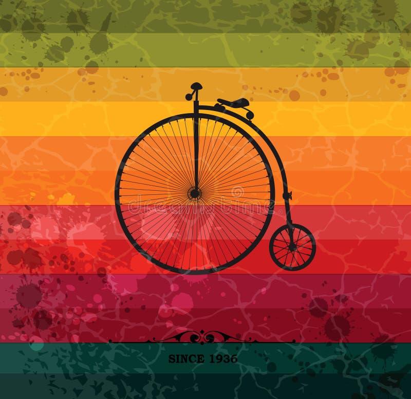 Bicicleta retra en fondo geométrico colorido libre illustration