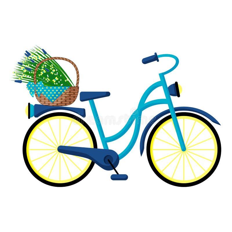 Bicicleta retro azul com uma cesta de flores selvagens no tronco ilustração royalty free