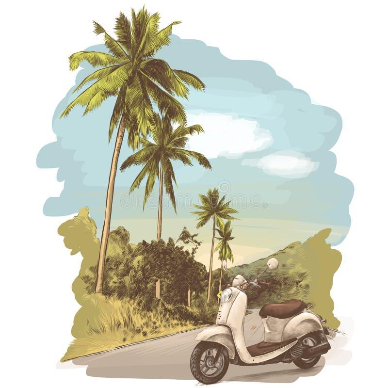 A bicicleta retro está na estrada ilustração royalty free