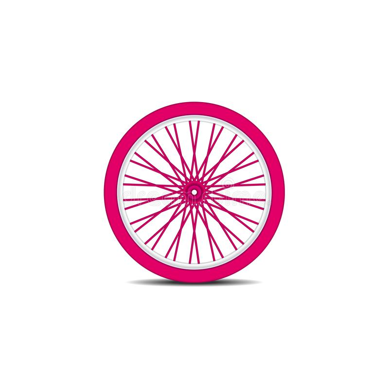 A bicicleta roda dentro o projeto cor-de-rosa com sombra ilustração stock
