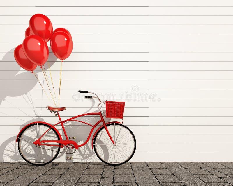 Bicicleta roja del inconformista con los globos delante de la pared stock de ilustración