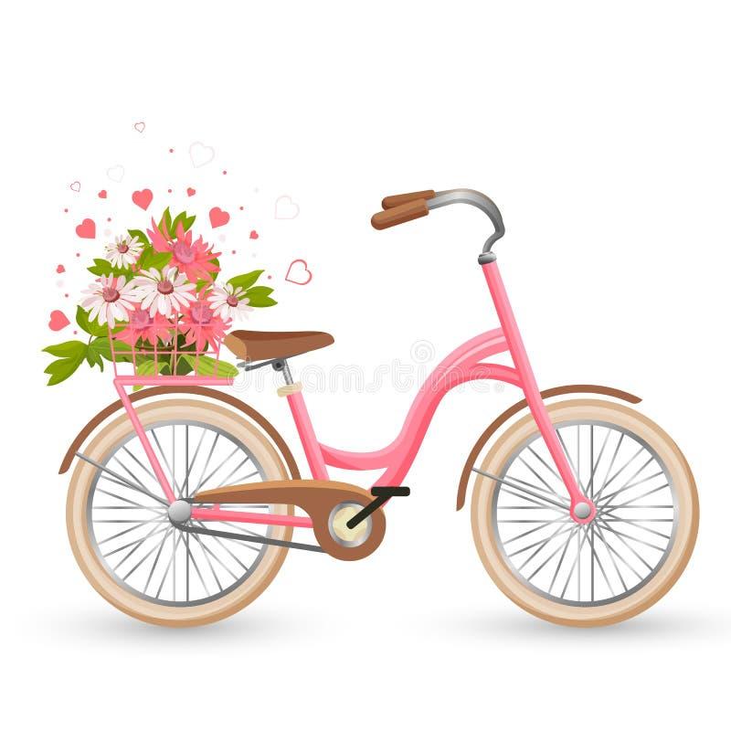 Bicicleta rosada con el carro lleno de flores y de vector de los corazones ilustración del vector